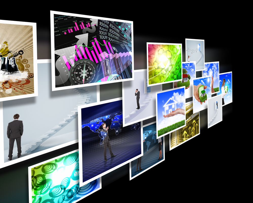 Colour images flow representing modern media technology